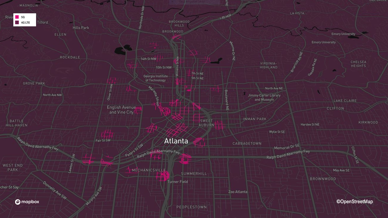 Atlanta 5G mmWave coverage map