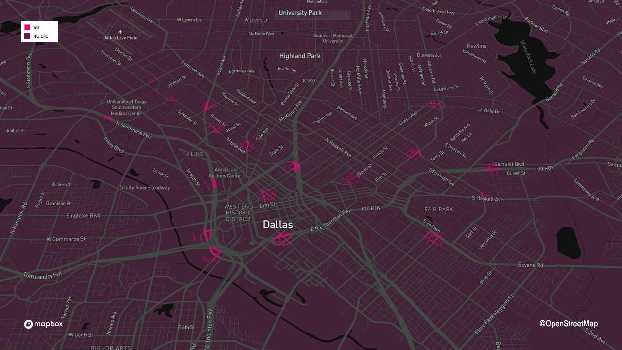 Mapa de cobertura 5G mmWave para Dallas