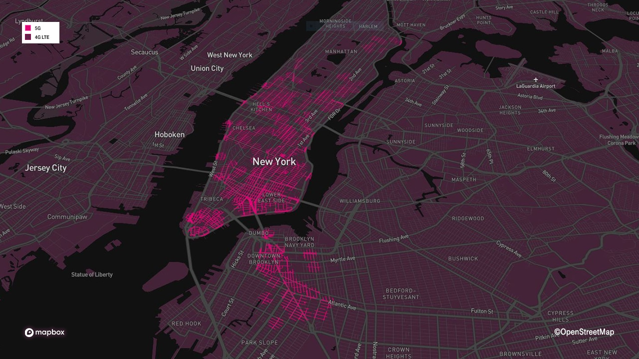New York 5G mmWave coverage map