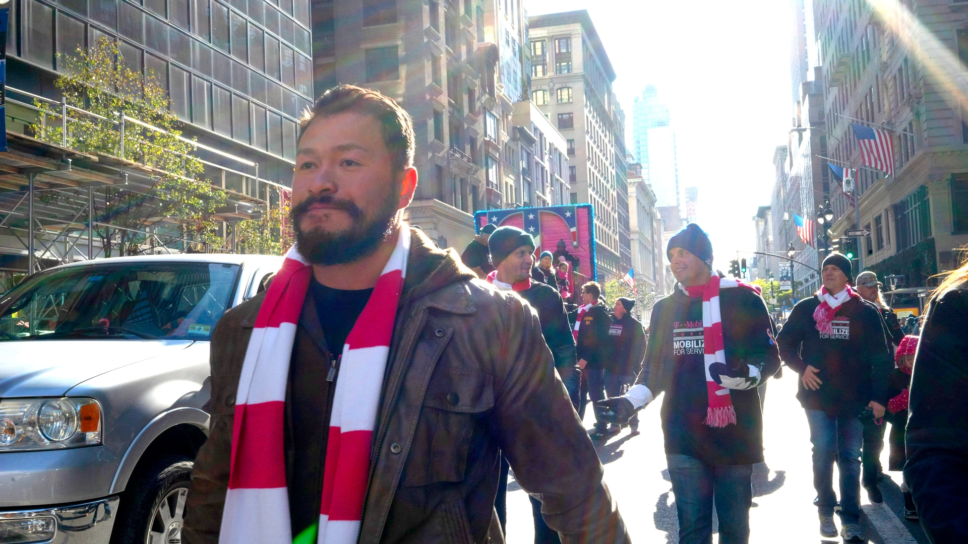 Otto Chan-Arias marching in the 2017 Veterans Day parade in New York City
