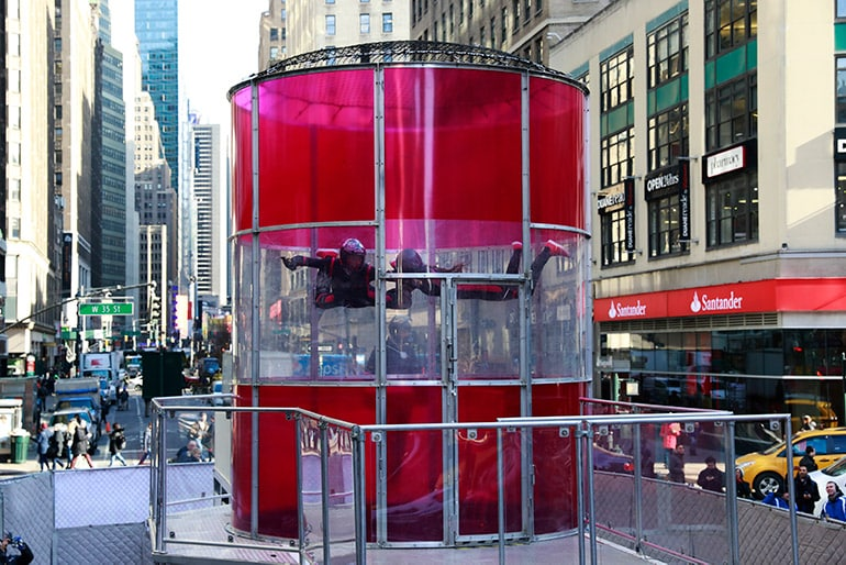 T-Mobile takes over Herald Square, NYC with a free-flying wind-tunnel to celebrate the fastest Samsung phones on the fastest network