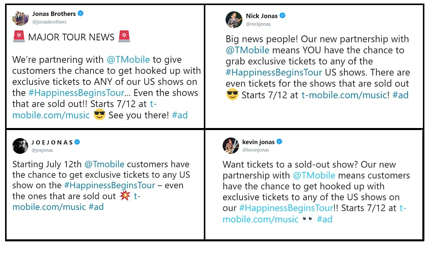 The Jonas Brothers themselves announced the partnership with T-Mobile on Twitter!