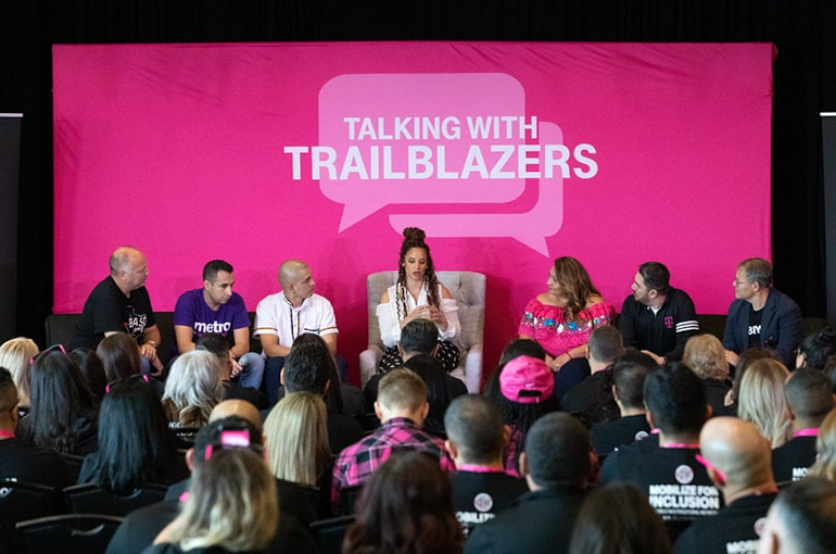 Orange Is the New Black star Dascha Polanco (center) joined T-Mobile EVP of Consumer Markets Jon Freier (far left) and a panel of employees in El Paso as part of the Talking with Trailblazers guest-speaker series