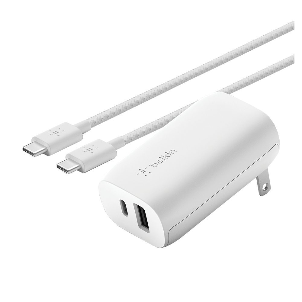 BOOST CHARGE USB C + USB A Wall Charger 30W + USB C to C Cable-White