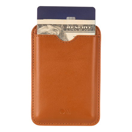 Case-Mate Magnetic Leather Wallet - Cognac Brown