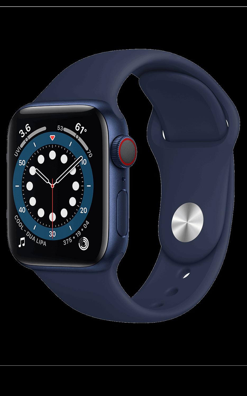 Vista frontal del Watch Series 6 44 mm - Aluminio en azul marino - Pulsera deportiva