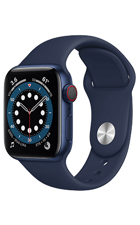 Front View Watch Series 6 44mm Navy Aluminum Sport Band