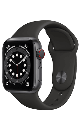 Front View Watch Series 6 44mm Space Gray Aluminum Black