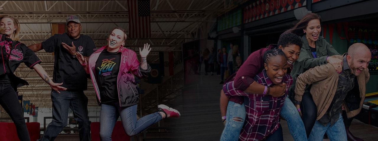Empleados de T-Mobile sonriendo y saltando y un grupo de cuatro personas sonriendo