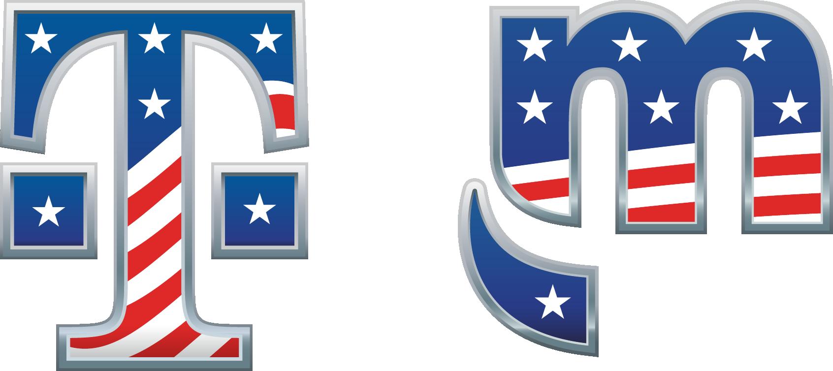 Logotipos de agradecimiento militar de T-Mobile y Metro by T-Mobile.