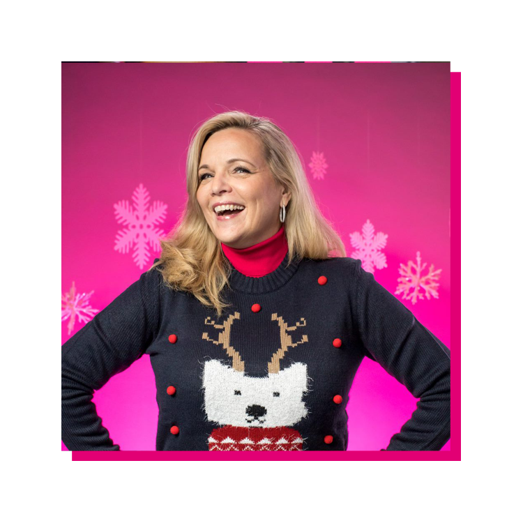 Janice Kapner in a Christmas sweater