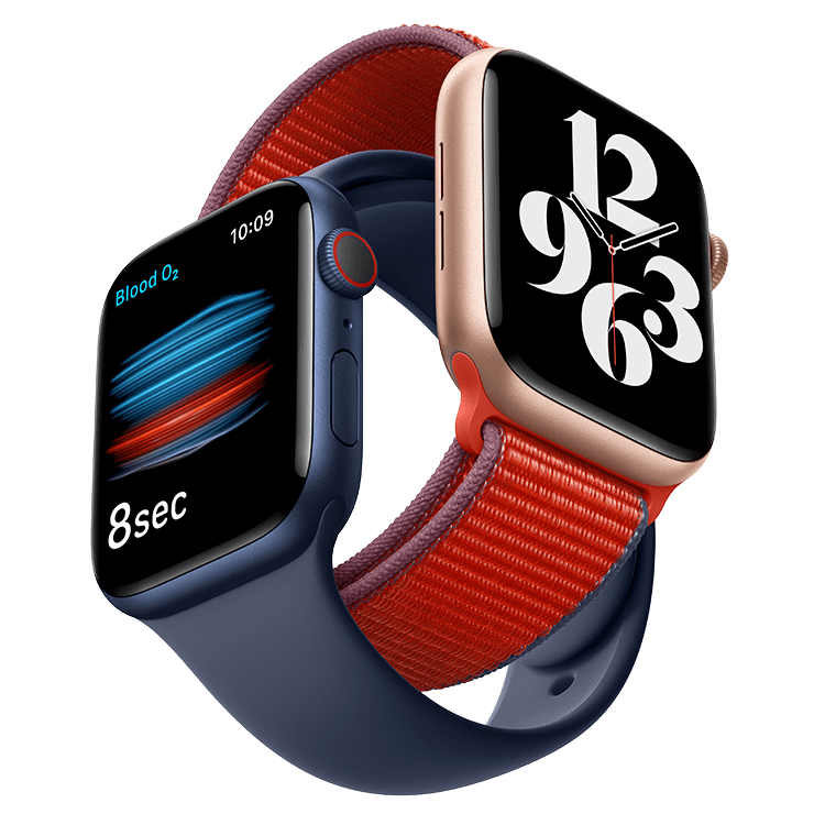 Gold Apple Watch Series 6 with a red strap linked with a deep navy Apple Watch Series 6 with and deep navy strap on a white background.