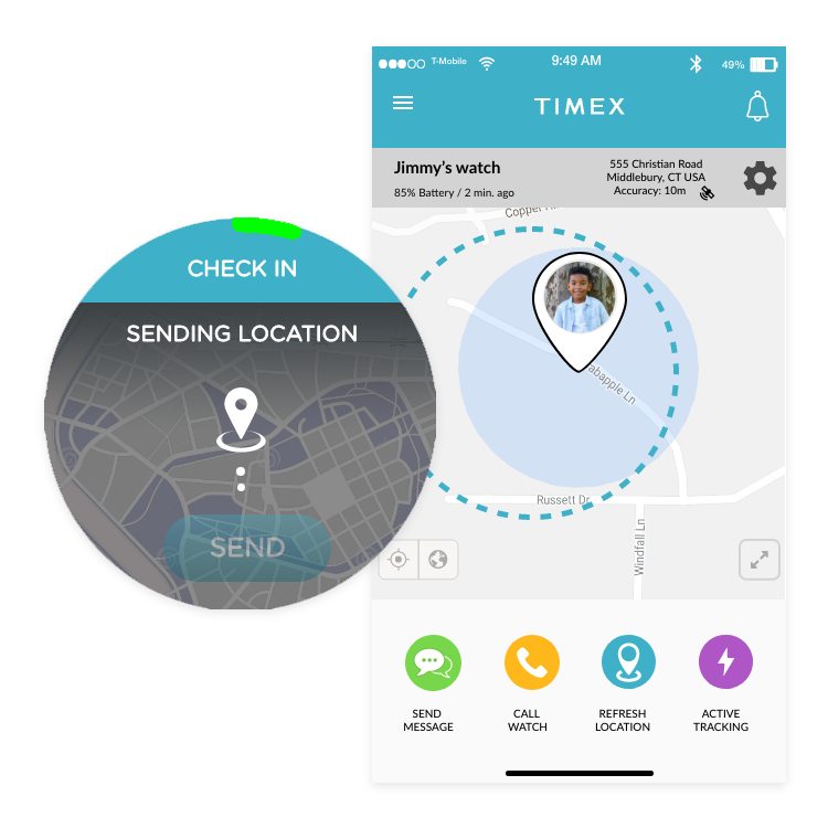 GPS location sharing with TIMEX FamilyConnect™ smart watch for kids