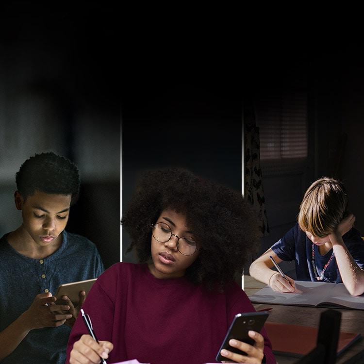 Personas de diversas etnias estudian con la ayuda de una tablet y un teléfono.