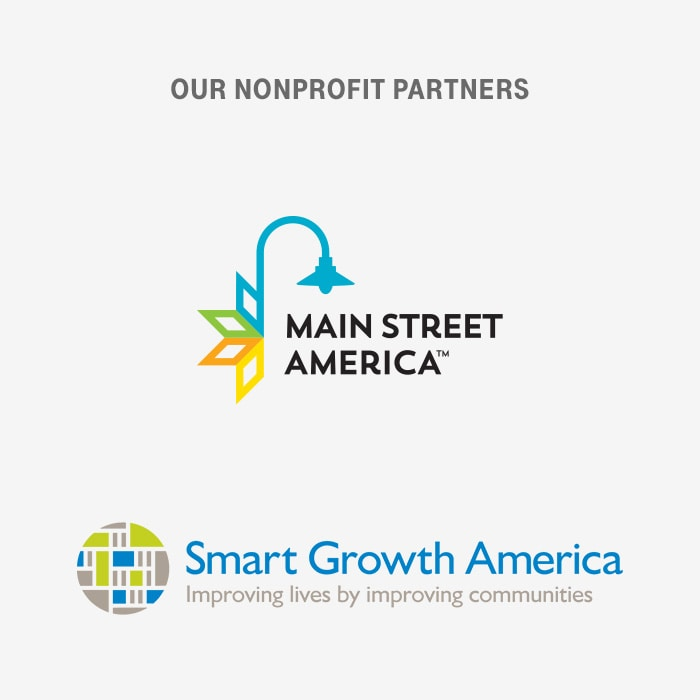 Logos of our nonprofit partners, Main Street America and Smart Growth America