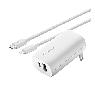 Belkin BOOST USB-C + USB-A Wall Charger 30W + USB-C to Lightning Cable - White