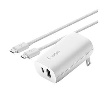 Belkin BOOST USB C + USB-A Wall Charger 30W + USB-C to USB-C Cable - White