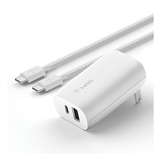 Belkin Dual 37W Wall Charger and USB-C to USB-C Cable - White