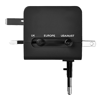 T-Mobile International Adapter - Black Select The Correct Adapter By Press The Button And Slide To Specific Position. Plug The Charging Cable Into Usb Port. Blue Led To Indicate Power.