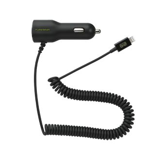 PureGear 17W/3.4A Car Charger with Lightning Connector - Black