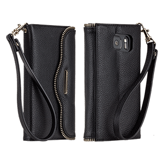 Samsung Galaxy S7 Rebecca Minkoff Leather Wristlet - Black Genuine Leather Wristlet For Your Phone And Other Daily Essentials. Features Rebecca Minkoff's Signature M.a.b. Flap Design And Zipper Detailing. Slim, Modern Folio Design And A Built-In Stand Blend Elegance And Function. Holds Two Credit Or Id Cards.