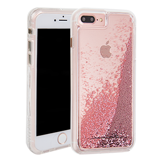 Apple iPhone 7 Plus Case-Mate Waterfall - Rose Gold A Modern Work Of Art In Rose Gold And Acrylic. Rose Gold Dust Flakes Are Inlaid With A Clear, Translucent Finish. Two Lightweight Layers And A Protective Bumper Reduce Impact And Shock. Metal Button Accents Add To The Polished Look
