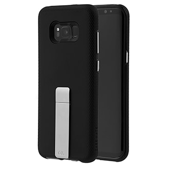 Samsung Galaxy S8 Plus Case-Mate Tough Stand - Black This Protective, Dual-Layered Case Offers A Smooth Soft Touch Finish And Ultra Slim Design. An Integrated Kickstand Provides The Perfect Media Viewing Experience With Both Portrait And Landscape Viewing Angles. Metallic Chrome Buttons Accent And Complete The Polished Look Of Your Device.