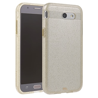 Samsung Galaxy J3 Prime Case-Mate Naked Tough Case - Clear & Gold Glitter The Glam Collection Is Inspired By Dazzling Fine Jewelry That Shimmers. The Intense Sparkle Is Captured Within A Glossy, Smooth Surface, Ensuring Durability And A Stunning Depth Of Color. Metal Button Accents Complete The Effect. Ultra Slim, Dual-Layer Design With Protective Bumper Lessens Impact And Shock.