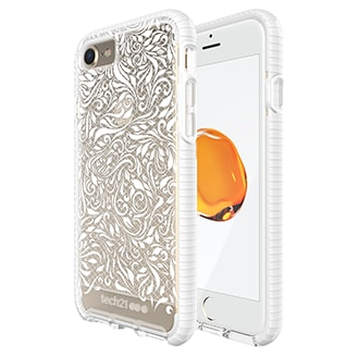 Apple iPhone 7 Tech21 Evo Check Lace Case - Clear & White Ultra-Thin, Lightweight And Featuring A Unique Check Pattern, You Can Trust The Tech Evo Check's Advanced Drop Protection To Keep Your Phone As Beautiful As The Day You Took It Out Of The Box. Thanks To Flexshock And A 3-Layer Impact Absorption System, Evo Check Offers 3m/9.9ft Drop Protection. Flexshock Is So Efficient That We Didn't Need Much Of It To Offer Great Protection, Making Evo Check Ultra-Thin And Lightweight. Evo Check Sits Securely In Your Hand And Gives You Comfortable And Precise Access To All Your Ports And Function Buttons.