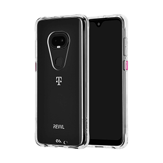 Case-Mate Tough Clear Case for T-Mobile REVVLRY Plus - Clear and Magenta