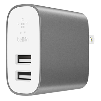 Belkin Metallic 2-port Universal Home Charger - Grey