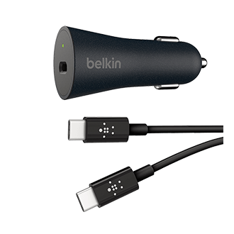 Belkin QC4+ 27W Car Charger and USB C to C Cable - Black