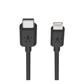 Belkin Metallic USB-C to Lightning Cable, 4 feet - Black