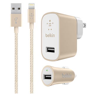 Belkin Mixit Metallic Lightning Car And Home Charger Kit - Gold The All-In-One Charging Collection For Your Phone With A Lightning Connector Cable, Home Charger And Car Charger. Whether You're At Home Or In The Car, You'll Never Be Without Power. Perfectly Prepared To Sync To Any Location, The Car + Home Charger Kit Will Also Perfectly Sync With Your Phone In A Stunning Metallic Finish. The Mixit Metallic Home Charger Always Delivers The Maximum Amount Of Power Required To Charge Your Device--Up To 2.4 Amps. With The Mixit Metallic Car Charger, You Can Keep Your Devices Fully Charged While You're Driving. Ideal For Mobile Users With An Active, On-The-Go Lifestyle, This Charger Plugs Directly Into Your Car's Dc Power Connector. Charge And Sync All Your Lightning Connector Devices Quickly And Safely, Using Just One Cable. Simply Plug The Usb End Directly Into Any Usb Port To Stay Connected While You're At Home, At Work, Or On The Road.