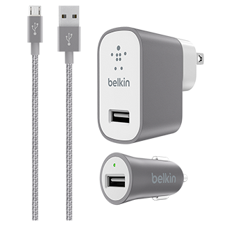 Belkin MIXIT Metallic Micro USB Car and Home Charger Kit - Space Grey