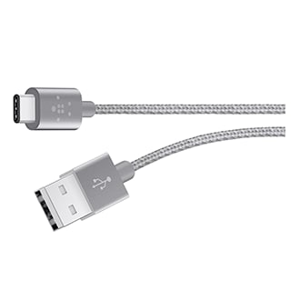 Belkin Metallic USB-C TO USB-A Cable - 6 ft - Grey
