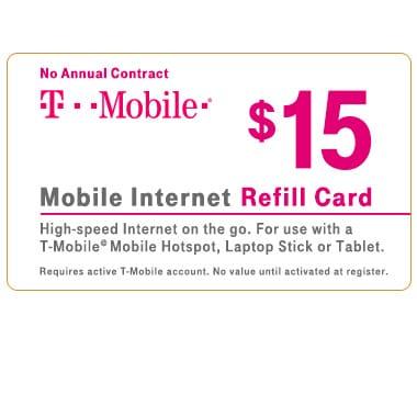T-Mobile® $15 Mobile Internet Refill Card