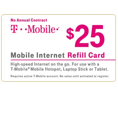 T-Mobile® $25 Mobile Broadband Refill Card