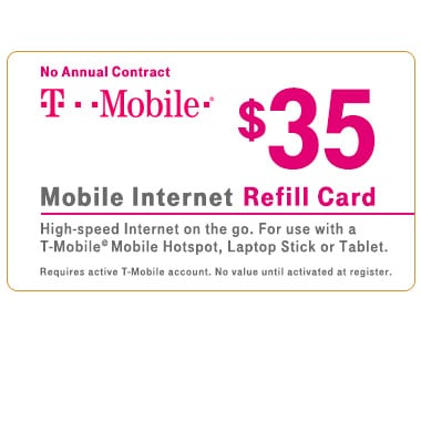 T-Mobile® $35 Mobile Broadband Refill Card